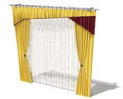 黄色丝质窗帘