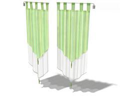 白绿色布艺帘