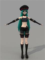 《初音未来:歌姬计划》初音未来朋克装3D模型