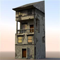 unity3d游戏场景模型之老旧村庄(小楼房4号)