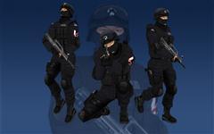 unity3d游戏人物模型特警带动作3D模型