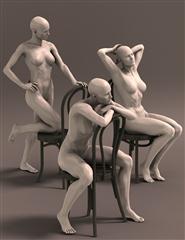 女性 漂亮的坐姿 模型 Sitting Pretty for Gia 吉尔