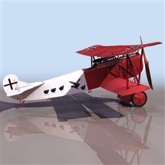 飞机3D模型系列 19-20世纪飞机历史博物馆 德国王牌战机 红色涂装