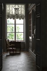 豪华欧式风格室内3D模型 古典华丽的欧式书房