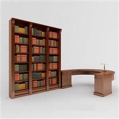 欧式古典风格办公桌书架组合