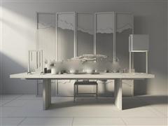 中式实木桌椅组合