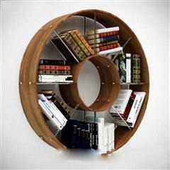 现代工艺挂墙式圆形书架