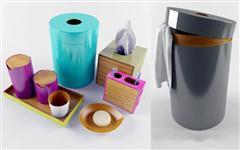 洗浴用具和黑色圆形换洗衣物桶