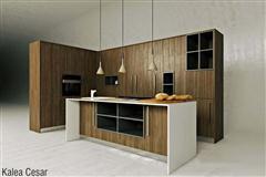 现代美式简约原木橱柜组合
