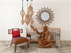 东南亚边柜椅装饰品组合