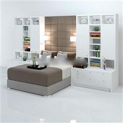 现代都市简约多功能一体式床头柜床具组合
