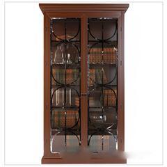 美式古典玻璃双开门书柜