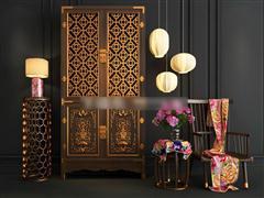 中式风格实木置物柜单椅组合