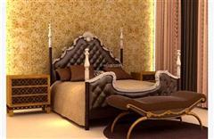 欧式木质软包四柱床 3d模型下载