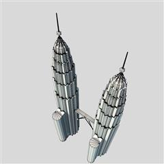 双子楼 Twin Tower Low Polygon